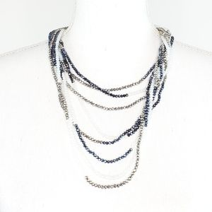 Multistrand Glass Beaded Blues Silvers Necklace